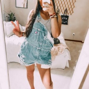 Vintage distressed oversized slouchy overalls